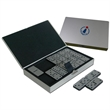 Domino set in metal case - Metal all stainless steel domino set in metal case.