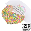 Spring Flowers Giant Fortune Cookie - Giant fortune cookie hand dipped and decorated with spring flower confetti.