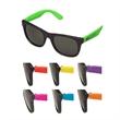 Children's Black Frame Sunglasses w/Assorted Neon Temples - Black frame sunglasses with neon temples in children's sizes.