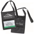 Tradeshow Badge Holder - Tradeshow badge holder with one full-length zippered pocket, back pocket, pen loop and next strap.