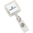 """Square Perfect Value Badge Holder - Square retractable badge holder with 30"""" long nylon cord and a swivel alligator clip on back."""