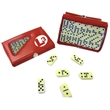 Compact 28 Piece Double Six Domino Game Set - E657 - Compact travel domino game, set of double six dominoes in case.