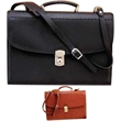 Barrister Briefcase - Aniline glazed calfskin leather barrister briefcase with inside organization panel.