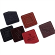 Square Coaster - Square business leather coaster with stitched and burnished edges.