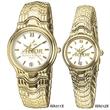 Men's Gold Brass Bracelet Wristwatch - Men's gold brass bracelet wristwatch with calendar at 6 o'clock position.