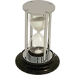 Timer - Tarnish proof chrome and black marble hourglass shape sand timer, 15 minute.