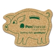 """Piggy Bank Shaped Cork Coaster - Piggy bank shaped cork coaster, 1/8"""" thick with stock design. Absorbent and durable."""
