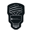 """CFL Shaped Recycled Tire Coaster - CFL light bulb shaped recycled tire coaster. 1/8"""" thick."""