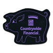 """Pig Shaped Recycled Tire Coaster - Recycled tire piggy bank shaped coaster, 1/8"""" thick."""