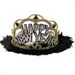 Happy New Year Tiara in Black marabou trim - Happy New Year tiara in black marabou trim, blank