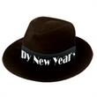 Happy New Year Black velour Fedora - Happy New Year black velour fedora, blank