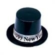Happy New Year Black and Silver Top Hat - Happy New Year black and silver top hat, blank