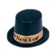 Happy New Year Black and Gold Top Hat - Happy New black and gold top hat, blank