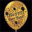 "Happy New Year Gold Latex Balloons - 14"" Happy New Year gold latex balloons, blank"
