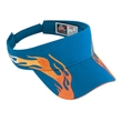 Flame Pattern Brushed Cotton Twill Sandwich Visor Sun Visor - Flame pattern brushed cotton twill sandwich sun visor with hook and loop.