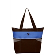 """Color-Block Fashion Tote - Color-block fashion tote with zippered main compartment and 22"""" handles."""