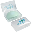 Handy Soap Dish - Frosted plastic soap dish with pad printed graphics.