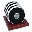 Argentum silver coaster - Set of 4 argentum silver metal coasters, dome medallion, slotted red walnut stand.
