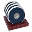 Coaster set - Set of 4 argentum silver coasters with cast medallion and slotted red walnut stand.