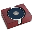 Coaster set - Set of 4 argentum silver coasters with cast medallion, rectangular red walnut stand.