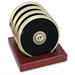 Coaster set - Set of 4 brushed brass metal coasters with dome medallion, slotted red walnut stand.