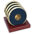 Coaster set - Set of 4 brushed brass coasters with cast medallion, slotted red walnut stand.
