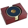 Coaster set - Set of 4 brushed brass coasters with cast medallion, rectangular red walnut stand.