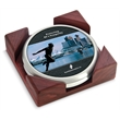 Coaster set - Set of 2 satin silver coasters with digital insert and cornered red walnut stand.