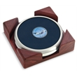 Coaster set - Set of 2 satin silver metal coasters with dome medallion, cornered red walnut stand.