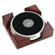 Coaster set - Set of 2 satin silver coasters with cast medallion and cornered red walnut stand.