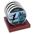 Coaster set - Set of 4 satin silver coasters with digital insert and slotted red walnut stand.