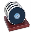 Coaster set - Set of 4 satin silver metal coasters with dome medallion, slotted red walnut stand.