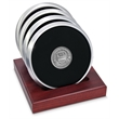 Coaster set - Set of 4 satin silver coasters with cast medallion, slotted red walnut stand.