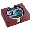 Coaster set - Set of 4 satin silver coasters with digital insert rectangular red walnut stand.