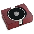 Coaster set - Set of 4 satin silver coasters with cast medallion, rectangular red walnut stand.
