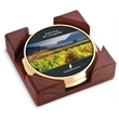 Top Brass Coaster - Set of 2 top brass coasters with digital insert and cornered red walnut stand.