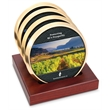 Top Brass Coaster - Set of 4 top brass coasters with digital insert and slotted red walnut stand.