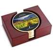 Top Brass Coaster - Set of 4 top brass coasters with digital insert and rectangular red walnut stand.