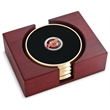 Top Brass Coaster - Set of 4 top brass metal coasters with dome medallion, rectangular red walnut stand.