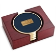 Top Brass Coaster - Set of 4 top brass coasters with cast medallion, rectangular red walnut stand.