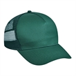 Cotton Twill 5 Panel Low Profile Mesh Back Trucker Hat - 5-panel trucker hat with a low fit featuring a mesh back, firm front panel, and plastic snap closure.
