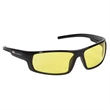 Contemporary style safety glasses - Contemporary style safety glasses with amber lens and black frame.