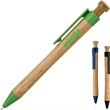 Kiva Ballpoint Pen - Plunger action ballpoint pen with smooth bamboo body, PLA plastic clip and trim.