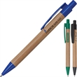 Ballpoint pen - Bamboo ballpoint pen with colored plastic clip and tip.