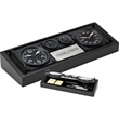 Aviator desk set - Desk set includes two clocks, hygrometer and thermometer.