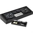 Aviator desk set - Desk set includes two clocks, hygrometer and thermometer.
