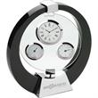 Tortola Desk Clock/Weather Station - Sleek black spinning desk clock / weather station.