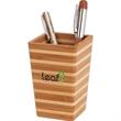 Bamboo Stripe Desktop Pen Cup