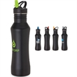 Cordova 22 oz. Stainless Steel Bottle - 22 oz. stainless steel bottle featuring matte black finish and colored flip-up drinking spout with straw.