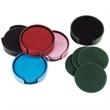 "Leather coaster set of 4 - Leather coaster set of 4 with creamy contrast stitch, diameter 3 1/2""."